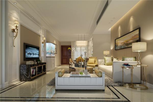 绿景虹湾装修效果图装修案例简欧风格客厅装修设计