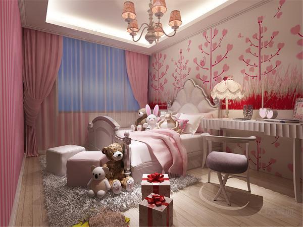 儿童房为女儿着想采用粉嫩系壁纸装饰,体现可爱的一面,。顶面采用回型吊顶,与整体形成统一搭配。