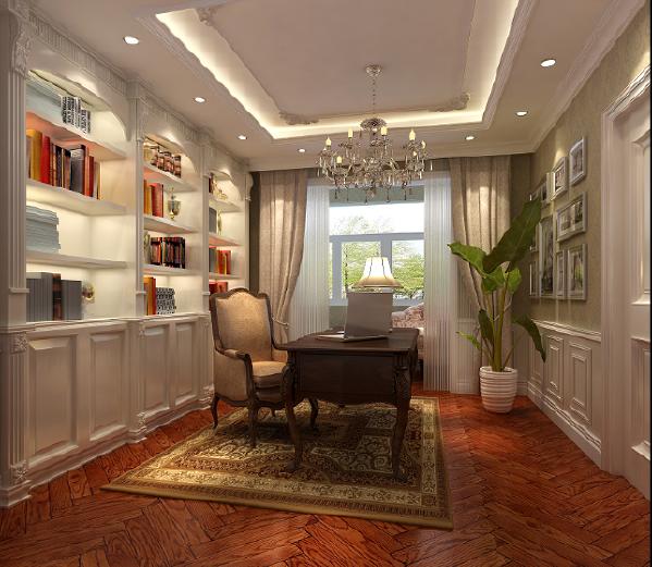 郑州大业美家装饰-橄榄城伍号院-300平别墅-书房装修设计效果图