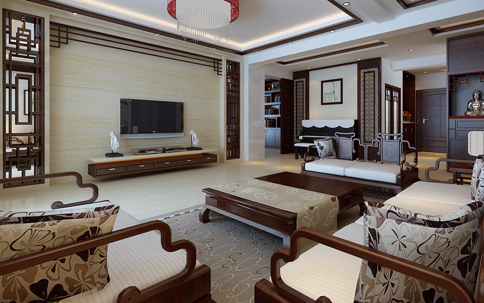 装修 家装 四居室 中式 现代 古典 客厅图片来自壹品装饰在湘江世纪城的分享
