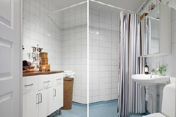 卫生间瓷砖装饰简洁大方。
