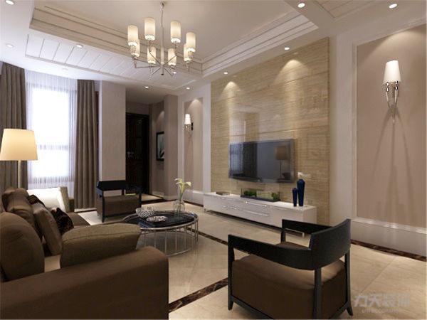本案客厅电视墙用石膏板圈边加上大理石和壁纸,整体简单大气,沙发背景用石膏板做了一个U型的石膏板暗藏灯池,加上三幅挂画,搭配一组3+1+1的布艺沙发。