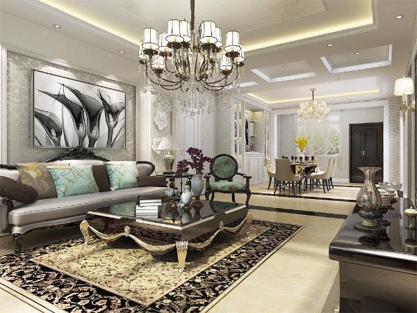整体空间的基调使用浅咖色、深咖色、,地面采用大理石,墙面则使用了浅咖色乳胶漆来进行设计,使得整体空间干净清爽。