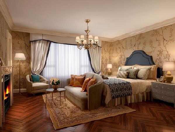 源盛嘉禾(290平米)美式风格别墅户型主卧室效果图
