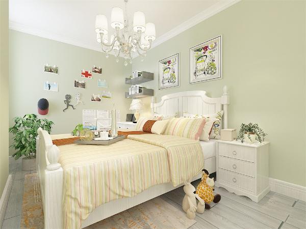 儿童房的设计上主要打造的是一种清新童真感,苹果绿色的墙面,白色的窗,奶黄色的床品,儿童玩具进行点缀。床头位置运用的是挂画形式,写字台采用了摆台进行装饰,植物为整个空增绿色气息。