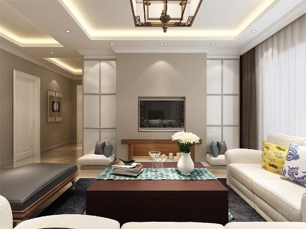 客餐厅地面同样采用复合木地板,客厅的顶部采简约回字形吊顶,给整个空间营造一种纯洁之感,又不失造型感。