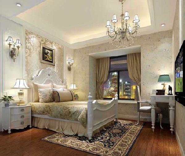 主卧室已浅黄色系为主,与客厅相互辉映,同时放了书桌,方便老伴看书写字用。