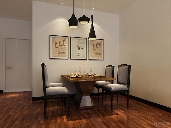 右手边为餐厅餐厅墙面有挂画作为装饰,餐厅往里走为客厅在电视背景墙上做造型并铺贴了蓝白竖条纹壁纸给人一种自然清新的氛围,在沙发背景墙上挂了简约的挂画,突出了简约的主题。