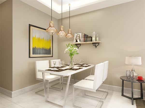 就餐区的位置运用的是白色的餐桌摆架用作餐厅区域的装饰,挂画选用的的是单独大的挂画形式,灯运用的是现代的吊顶形式,地面运用的是白色地砖,整个空间打造了一种清新温馨感。