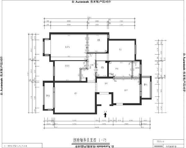 润泽悦溪(126平米)三居室户型墙体拆改图