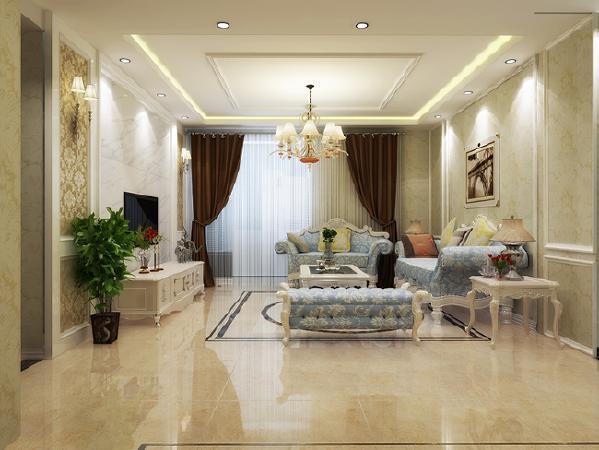 客厅的双层吊顶,足以展示了欧式浪漫与奢华的特点,电视背景墙见到利落的造型,彰显了欧式的尊贵和雅致,同时与沙发背景墙的石膏线造型相呼应,整体统一。