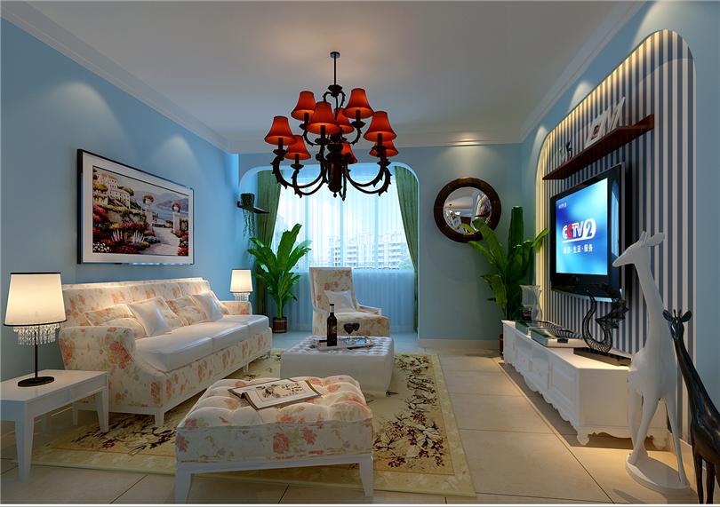 田园 二居 白领 收纳 80后 小资 客厅图片来自实创装饰完美家装在K2清水湾99平田园风格案例赏析的分享