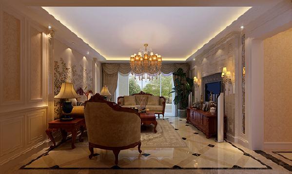 客厅墙面使用天然石材及木制墙板搭配壁纸作为主要装饰,衬托出整个空间的自然与庄重,顶面天花造型简洁与墙地面浑然天成,彰显主人品味!本案中地面以地砖为主,搭配简单的拼花,墙面则多采用壁纸