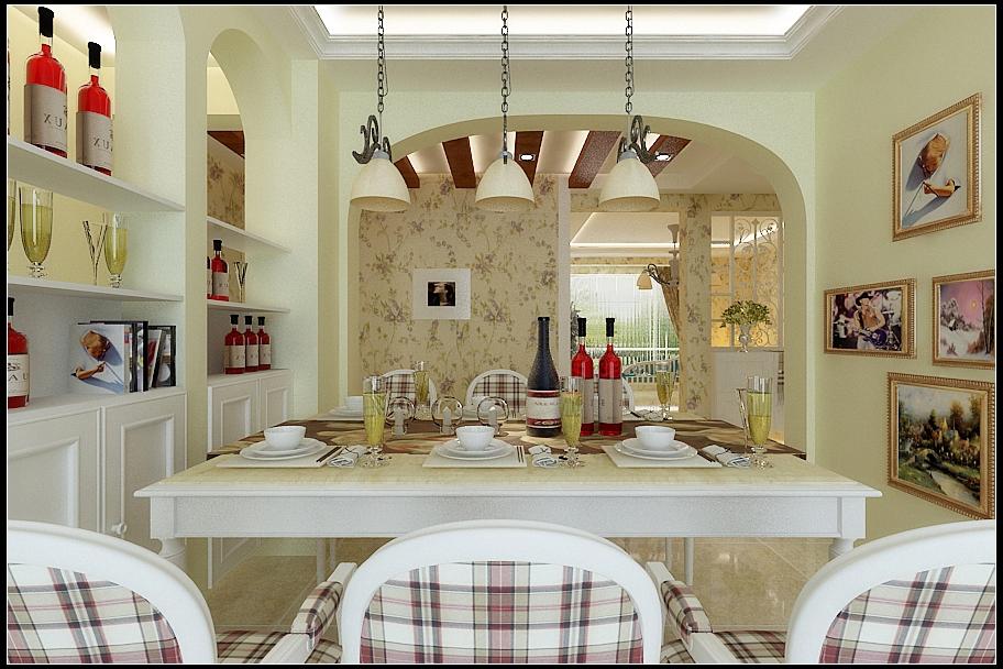 三居 田园风格 信达尚城 餐厅图片来自百家设计小刘在信达尚城138平田园风格半包5万的分享