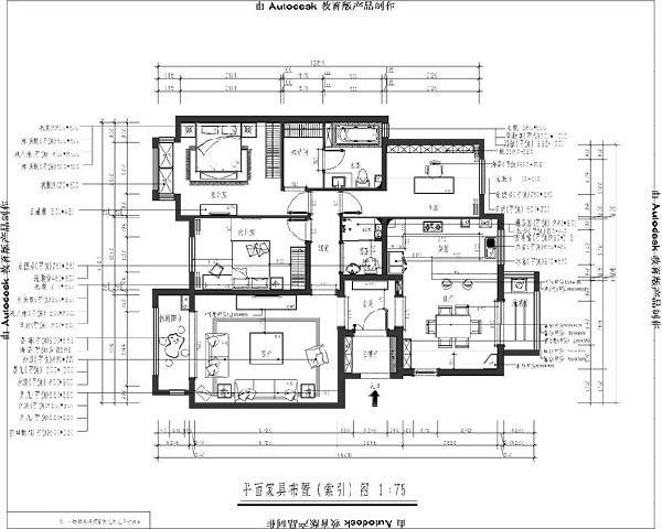 润泽悦溪(126平米)三居室户型平面布置图