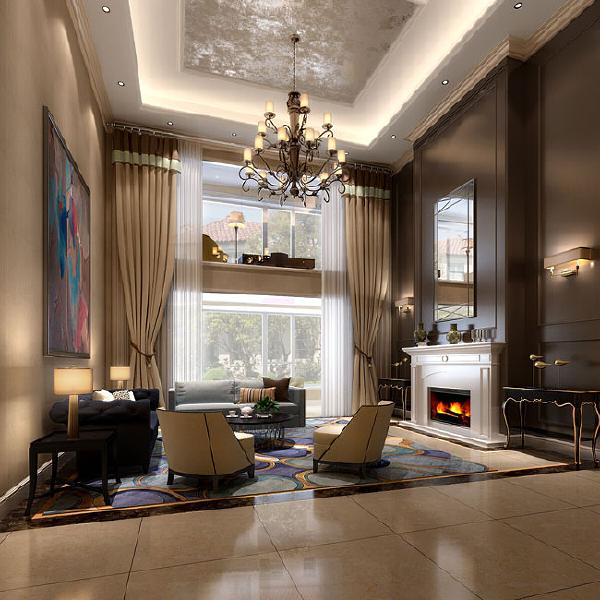 源盛嘉禾(290平米)美式风格别墅户型一层客厅效果图