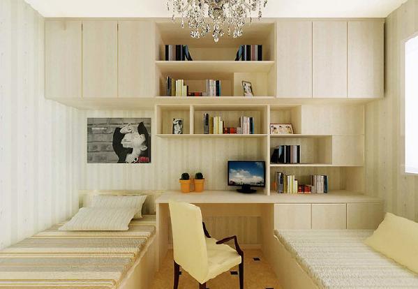 由于空间本非常狭小,有些业主在榻榻米卧室装修时为了突出区域感,会用不同材质或颜色把各个空间地面分割开来,甚至天花板也与之搭配。