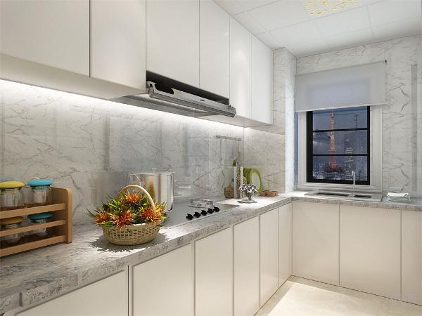在厨房的设计上,我们还是以简洁为主,采用了白色大理石材装饰墙面,在小空间的处理上,大面的石材装饰能够使的空间显得更大。