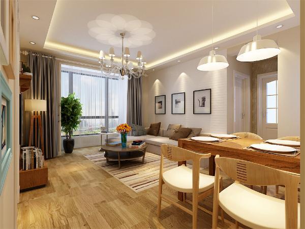 室内色彩采用了明亮温暖的浅色与白色,在家具与一些配饰上采用了明亮的纯色来形成视觉中心,客厅的面积不大所以采用了通透的不离茶几,使空间显得不那么拥挤,浅色的木地板搭配布艺沙发透出温馨亲切的气息。