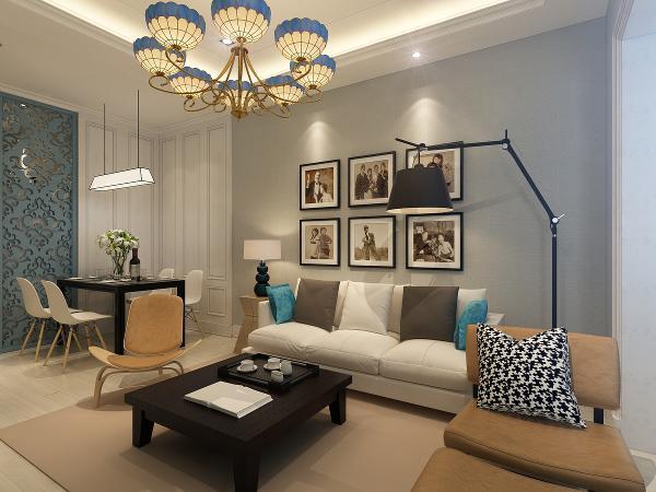 沙发背景墙同样利用纯色,原来灰色与白色组成的北欧印象,经过吊灯、饰品的妆点,显得舒适自然。背景墙朴素、简练的格调,带来平易近人的现代感。 引用到回复收集喜欢