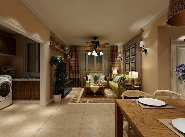 本案的沙发背景墙主要由木材和竹藤拼接而成,正中悬挂芭蕉叶形状的装饰品,散发着浓烈的东南亚气息,整个家居的色彩选用以原藤、原木的色调为主,大多数是褐色等深色系,在视觉上有泥土的质朴。