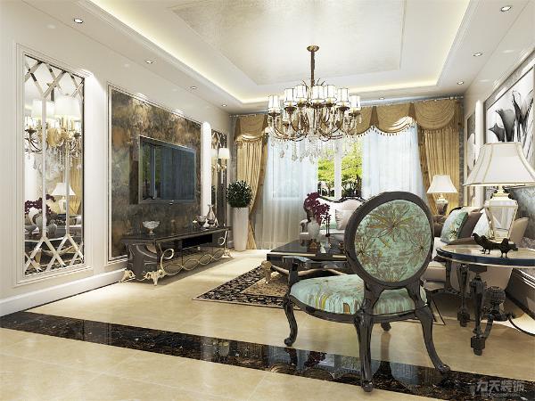 客厅设计采用整体白色调为主.以大理石、淡啡色以及欧式墙纸做主要装饰,白木线及石膏线边框作点缀,笔直简约的线条同样能勾勒出豪华时尚的气息。