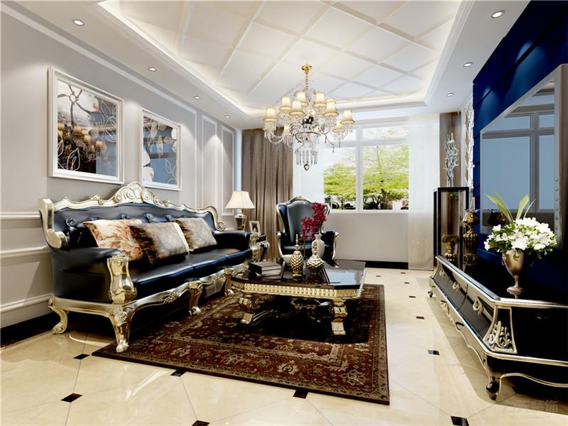 新古典 一室 收纳 小资 80后 瓷砖 吊顶 客厅图片来自阳光放扉er在力天装饰-昆仑中心86㎡的分享