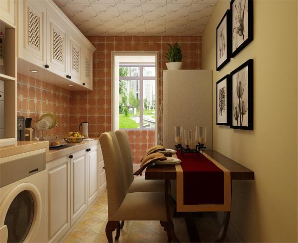我们采用了碎花壁纸和文化石装饰背景墙,表现了一种清新气息感,沙发采用条纹的图案造型,沙发背景墙采用的是装饰挂画使背景墙更富有生气。在餐厅的设计中,采用了暖色系的餐桌椅搭配白净的出橱柜。