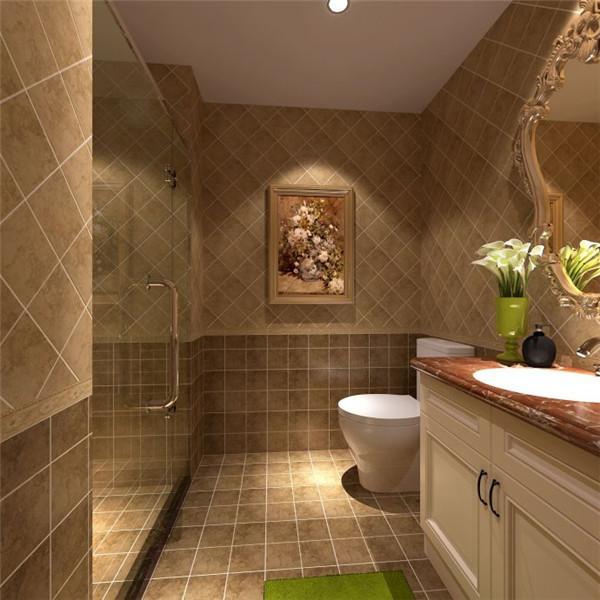 卫浴干湿分离,复古地砖加上大理石台面与实木相结合的浴室柜将卫生间表现的不失大气~