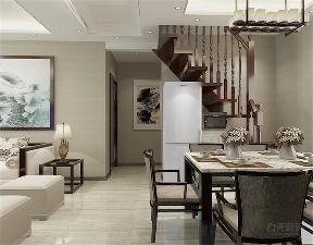 中式 三居 收纳 小资 白领 楼梯 餐桌 瓷砖 餐厅图片来自阳光力天装饰在力天装饰-融创融公馆82㎡的分享