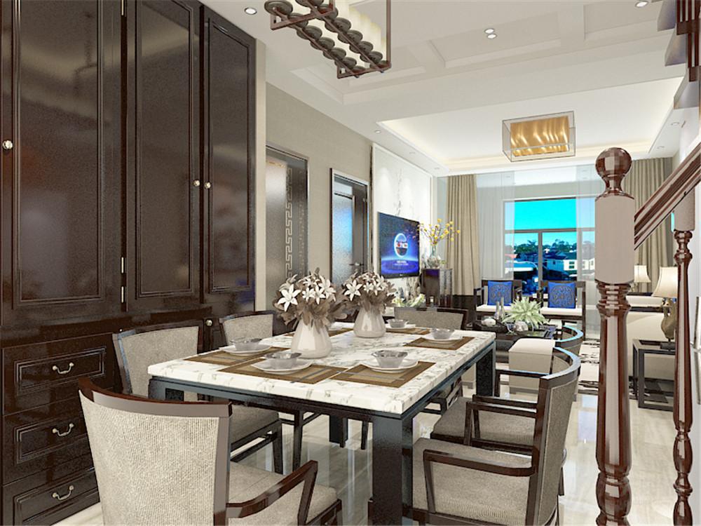 中式 三居 收纳 小资 白领 餐桌 储物柜 餐厅图片来自阳光力天装饰在力天装饰-融创融公馆82㎡的分享