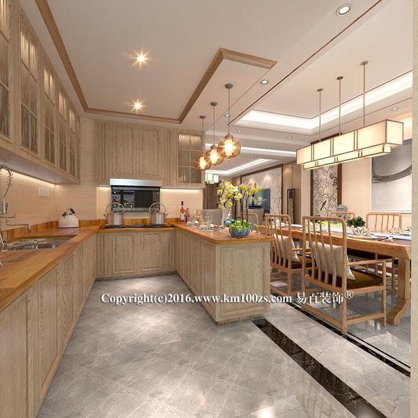 高低错落的橱柜操作台面,根据人体工程学原理,及厨房操作行为特点,橱柜工作区台面,划分为不等高的两个区域。