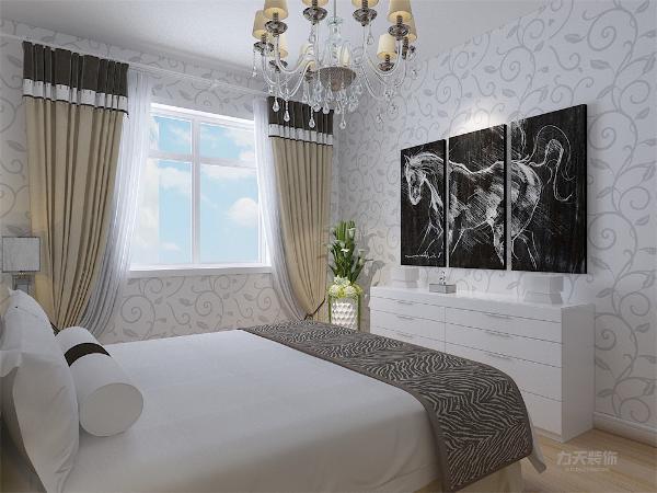 入卧室,给人感觉非常的生动,设有绿植,净化空气,床面洁白无瑕。壁纸很清新,衣柜比较创意。