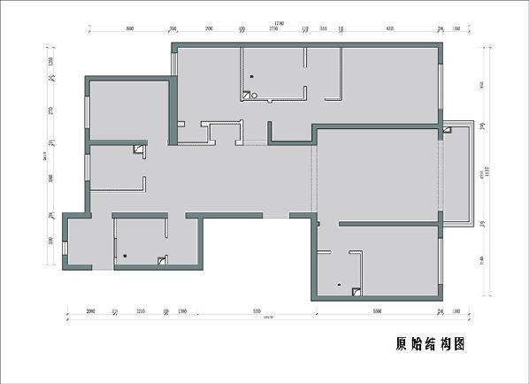 原始户型中格局分配相对合理,采光和通透性没有明显缺陷,动线流畅,但存在部分空间利用不充分的问题。中间卧室和餐厅中间的两个壁柜占用空间太繁琐,造成入户正对墙面多出一个门,视觉上凌乱。