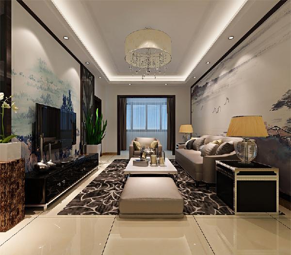 整体设计简洁大方,运用了大量的东方元素,电视背景墙和沙发背景均是以国画的字样作为装饰。在家居选用上多是以木质和布艺的结合。
