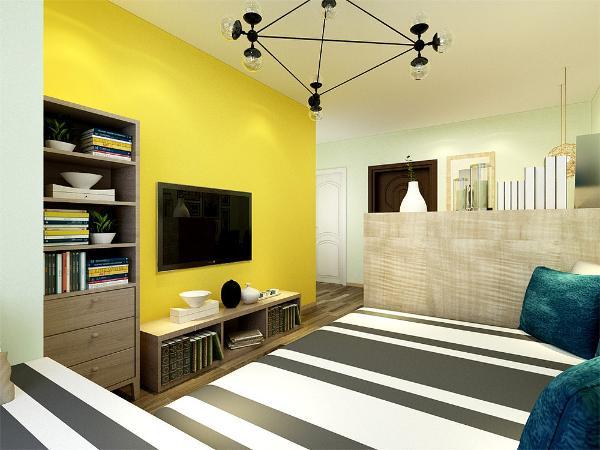 客厅空间讲究的是时尚的现代化气息,电视背景墙采用亮黄色的乳胶漆使整个空间看起来更活跃,地面淡灰色的地板使空间看起来更有时尚感,透着现代化的气息,而且客厅的榻榻米更是当代年轻人所喜爱的,