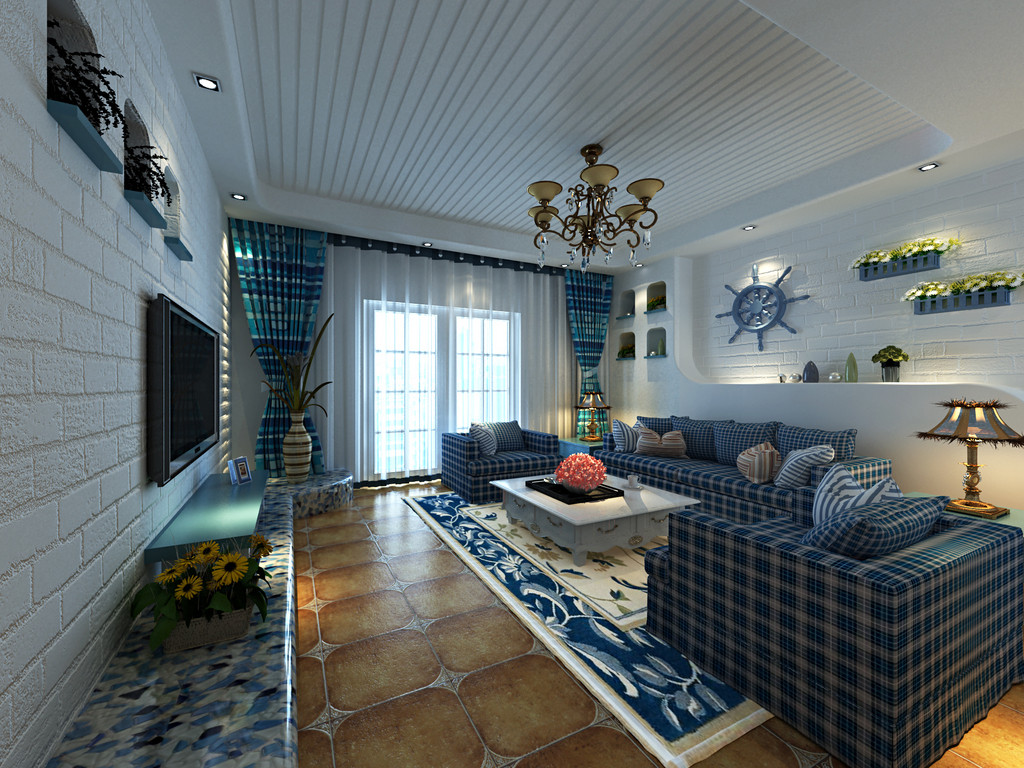 地中海 蓝色 舒适 年轻 客厅图片来自北京合建高东雪在浪漫的地中海风情的分享