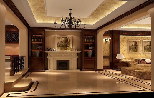 美式装修风格的别墅也显得更为大气沉稳。而在美式风格的别墅装修设计中,吊顶是一个极为重视的装修元素。一般采用原木作为其装修材料,大气而简洁的设计,为整个别墅室内空间增添不少华贵之气。