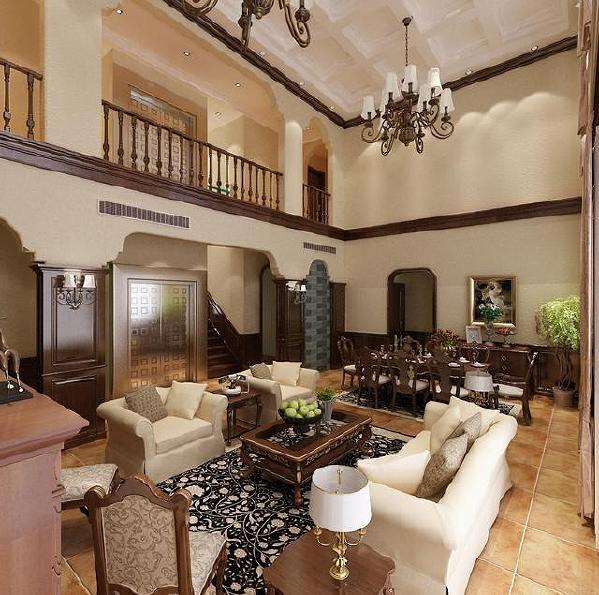 美式风格装修的别墅中,一方面在装饰色彩上,选用了单一的色泽,如深褐色、深棕色等;另一方面,在保留其贵气的同时,摈弃了欧式装修风格中的华丽奢侈,省去了繁琐的装饰与过多的雕琢,进而采用更为简洁的装饰线条。