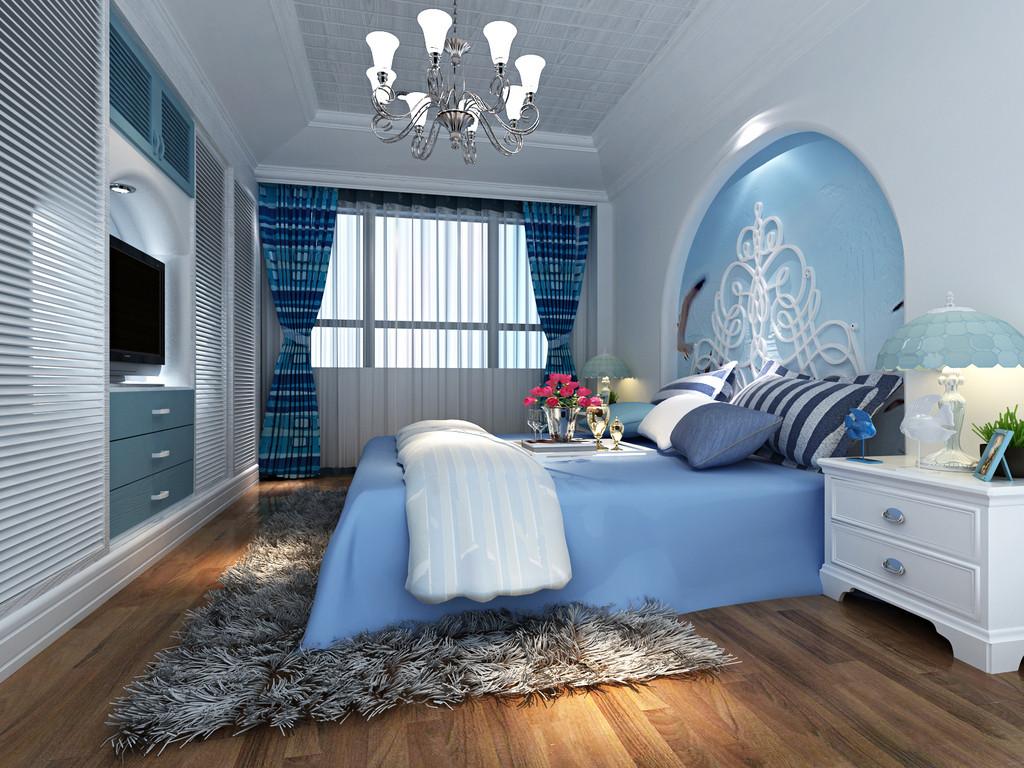 地中海 蓝色 舒适 年轻 卧室图片来自北京合建高东雪在浪漫的地中海风情的分享