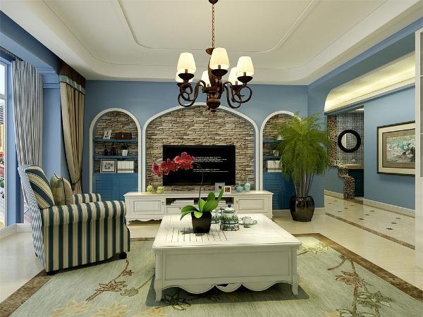 在平面布局上强调空间的自然融合。客厅空间讲究沉稳大方,整体为淡蓝色乳胶漆,突出海洋气息,蓝白相间但是造型不复杂的家具使整个空间复函一种怀旧的地中海气息,
