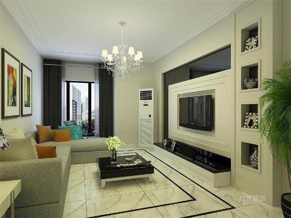客厅空间讲究的是时尚的现代化气息,电视背景墙采用石膏板内嵌壁纸的造型使墙面更明亮富有层次感,地面800*800的白色地砖使空间看起来更有时尚感。
