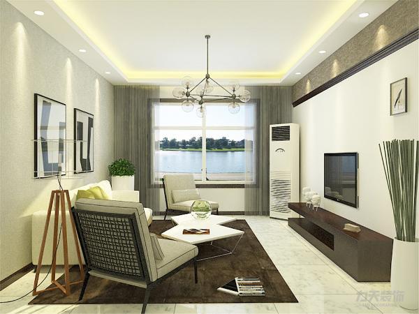 客餐听地面通铺白色地砖,电视背景墙采用几何划分的装饰手法突出现代感。墙面刷白色乳胶漆,餐厅顶面采用深色木地板上墙。
