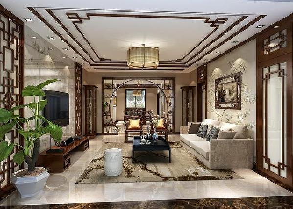 中式传统的室内装饰品有字画、匾牌、陶瓷、盆景、古玩和屏风等,其追求的是一种修身养性、典雅舒适的生活环境。