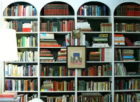 悬挂艺术品 下面这张图绝对不是什么正面的案例,悬挂艺术作品的方式有很多,但是终极目标是错落有致,不要显得乱,那么如果排布书籍就很重要啦!这个我们下面会说道。
