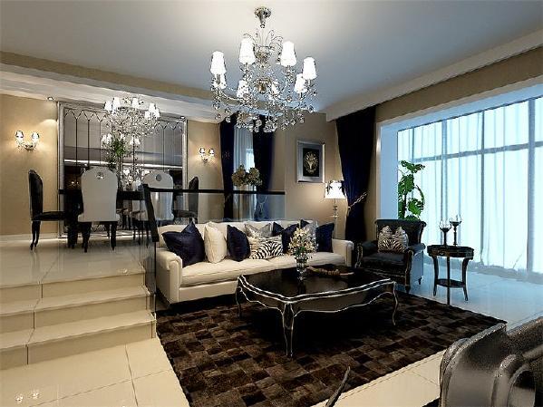 黑白风格的客厅在进行打造时,主要以白色与黑色为主,客厅中没有过多的其他色彩搭配。
