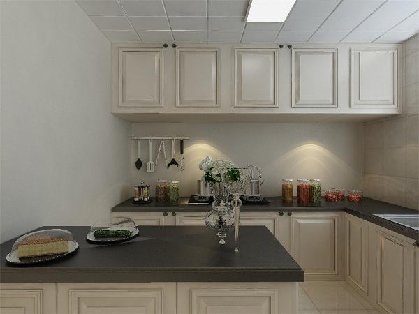 白色橱柜的选用让厨房空间也显得更加高档, 瓷砖的铺贴方式我们错开了本来的缝隙,显得更加活泼, 尺寸也刚刚好,墙上的挂画也让本来沉闷的空间更加活泼起来。