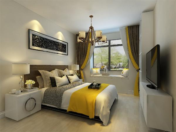 主卧我们采用黄色乳胶漆和床头软包互相结合,浅色床品也让空间高档起来。