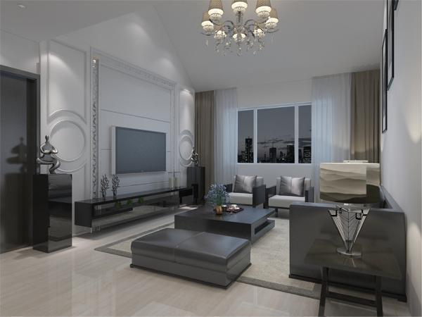 沙发背景墙采用的是装饰挂画使背景墙更富有生气。在餐厅的设计中,采用了白色系的餐桌椅搭配灰色的厨房门。