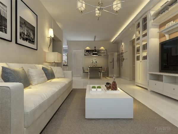客厅我们在设计上选择了全屋的黄色乳胶漆,客厅电视背景墙是组合电视柜,显示了住户的博学, 在配色上显得更加大方华贵。